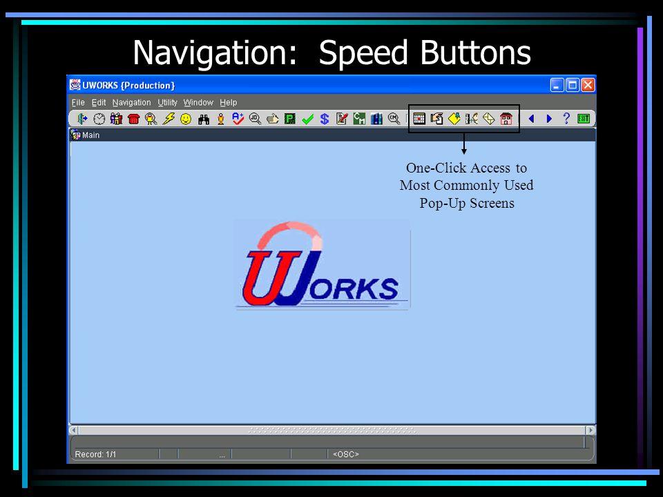 Navigation: Speed Buttons