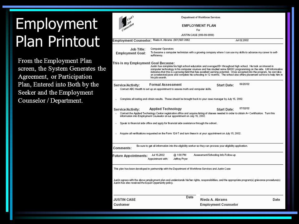 Employment Plan Printout