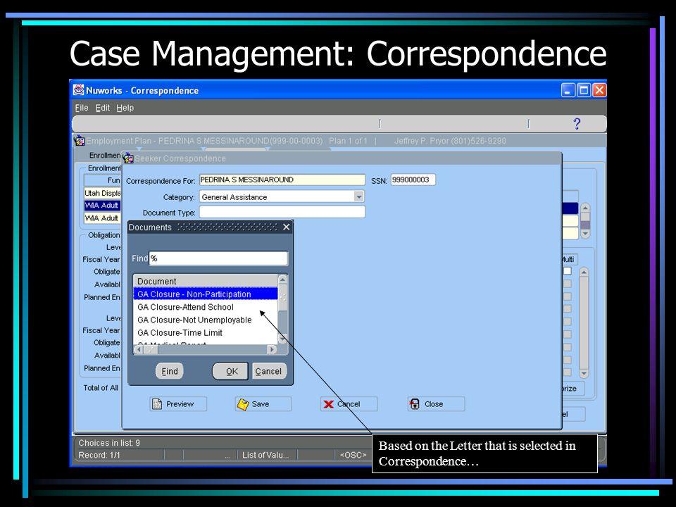 Case Management: Correspondence
