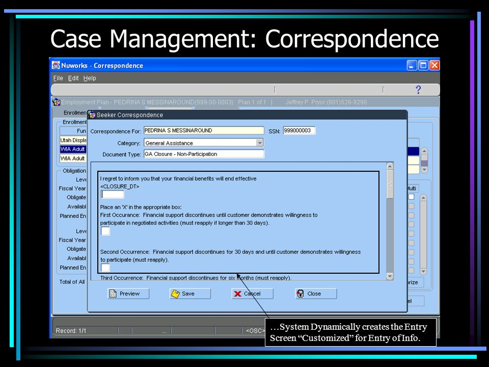 Case Management: Correspondence