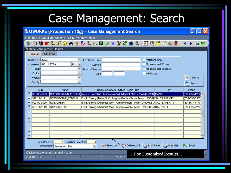 Case Management: Search