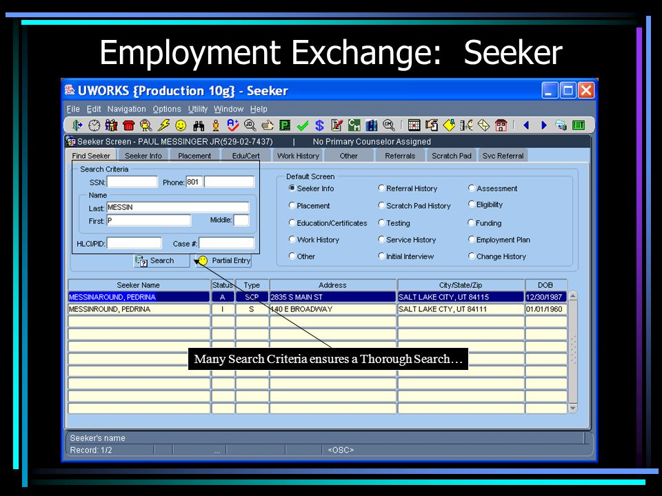 Employment Exchange: Seeker