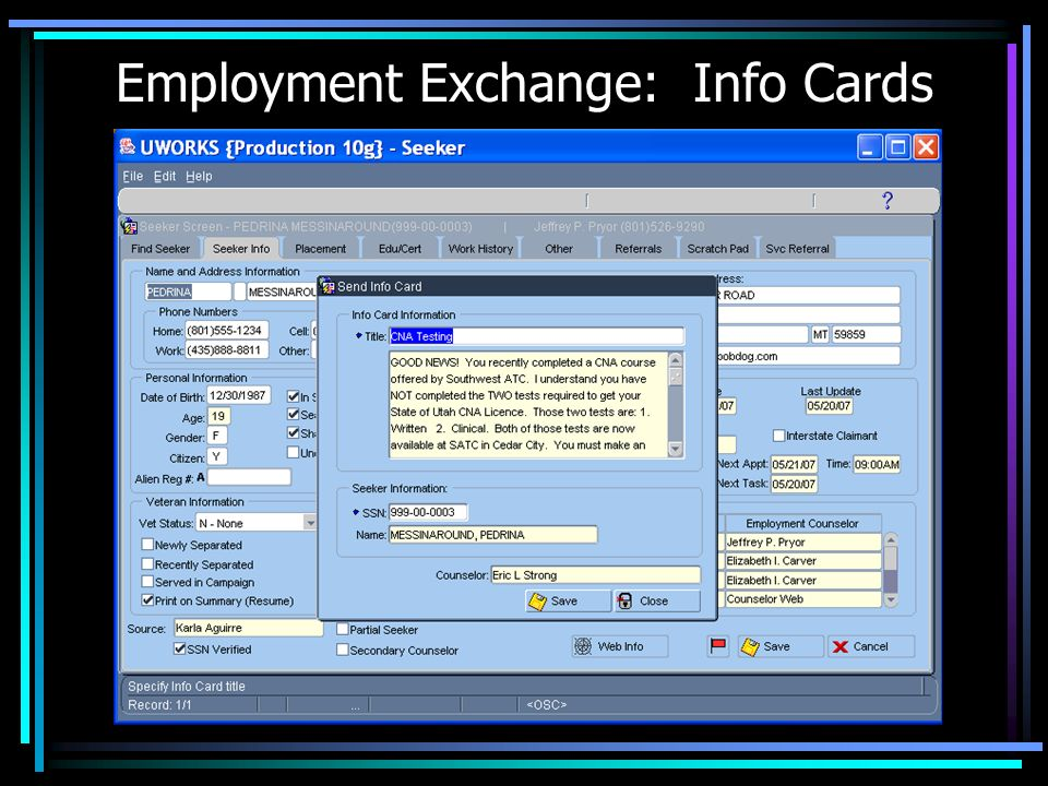 Employment Exchange: Info Cards