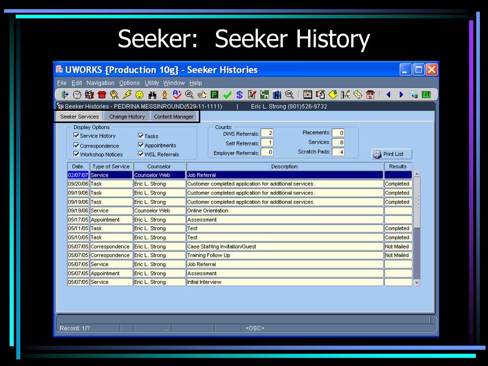 Seeker: Seeker History