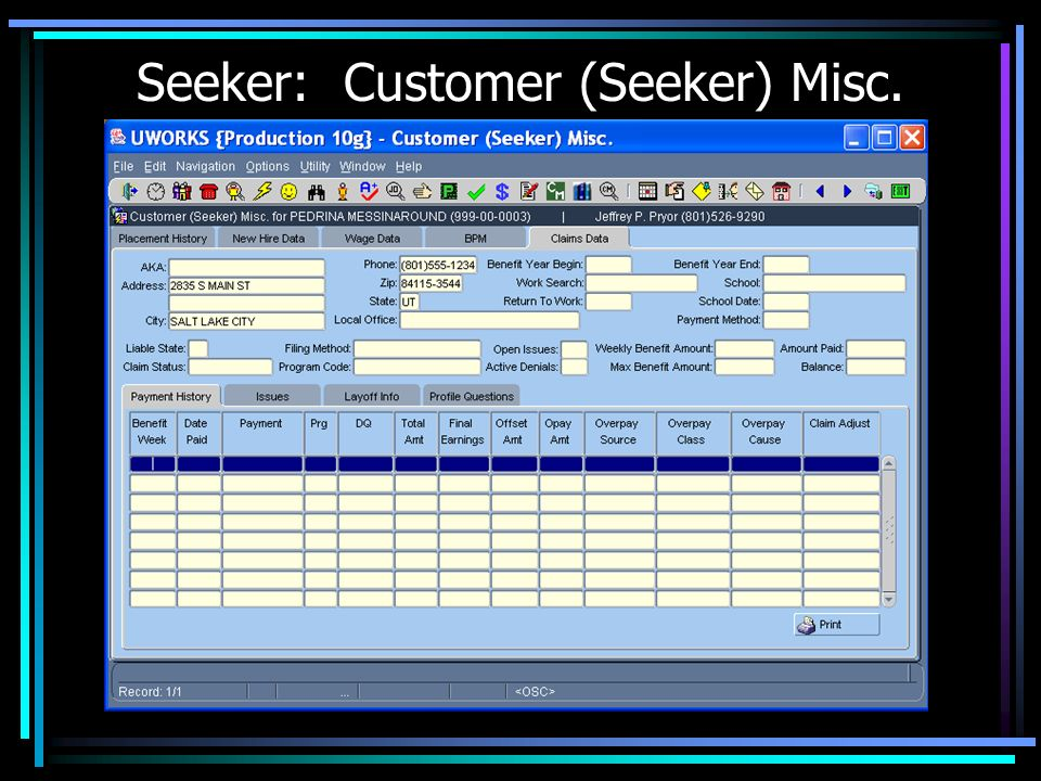 Seeker: Customer (Seeker) Misc.