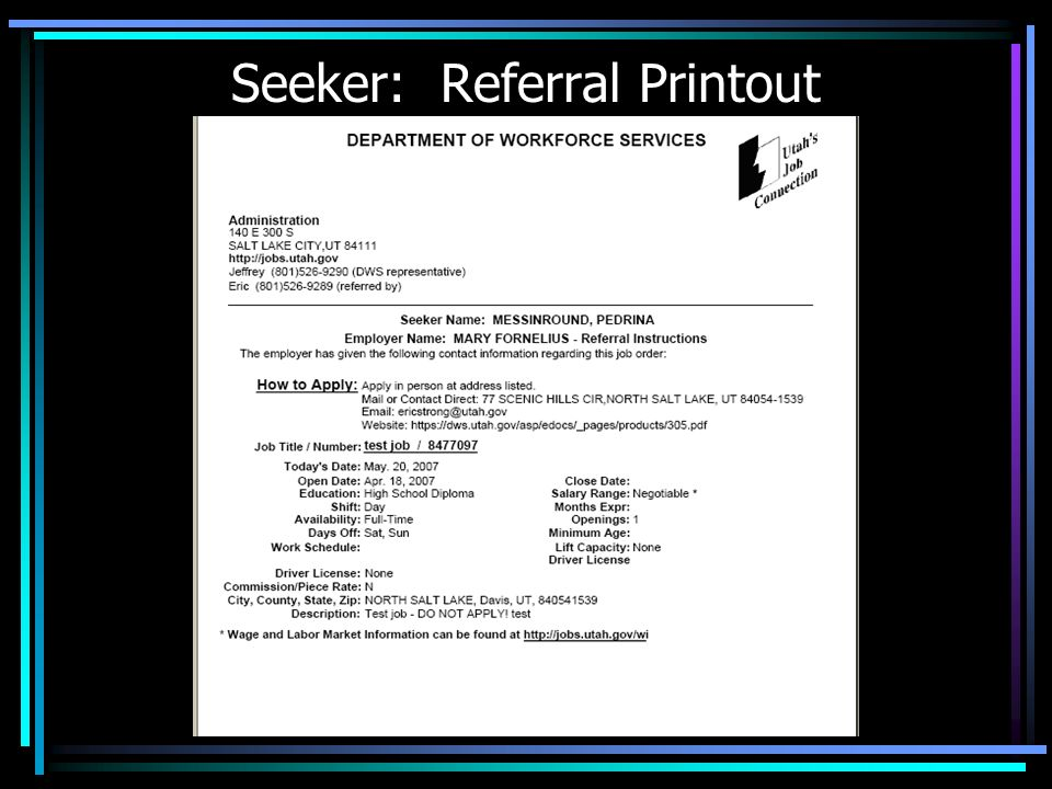 Seeker: Referral Printout