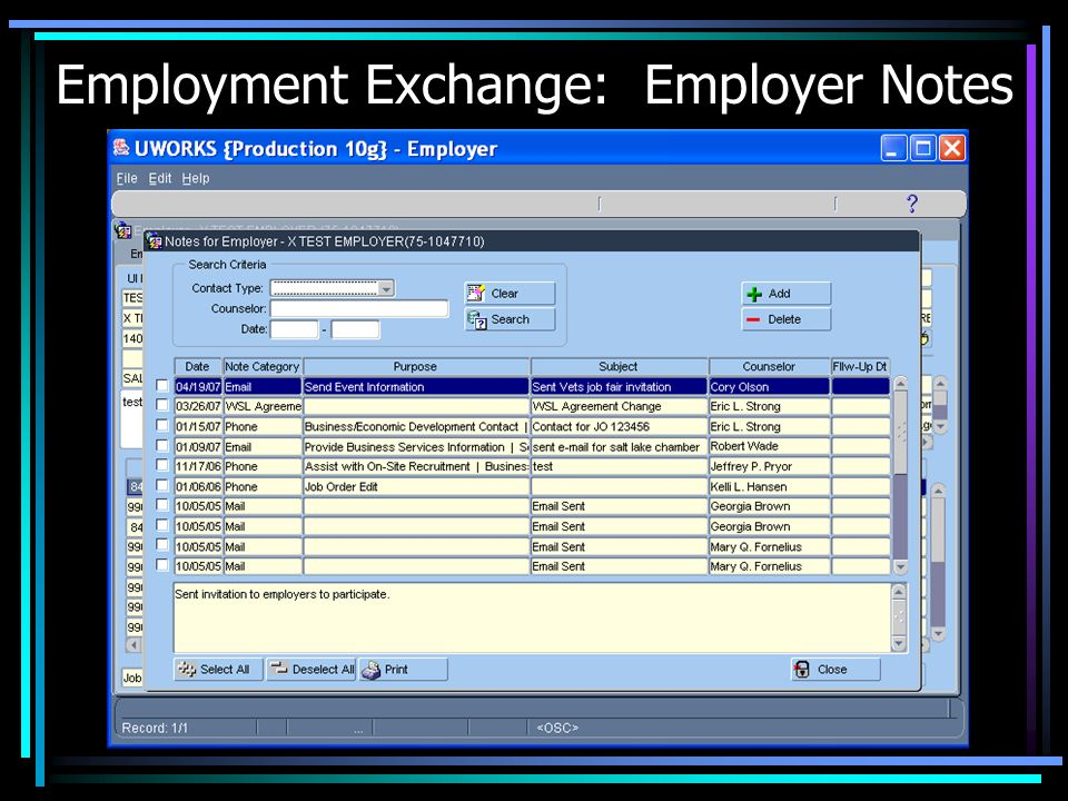 Employment Exchange: Employer Notes