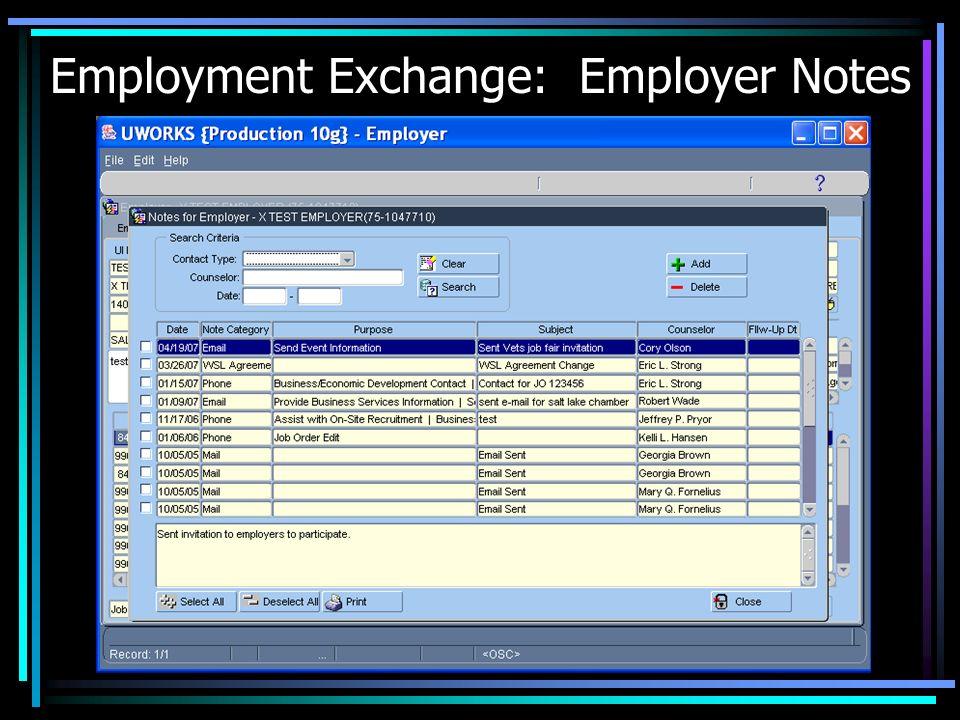 Employment Exchange: Employer Notes