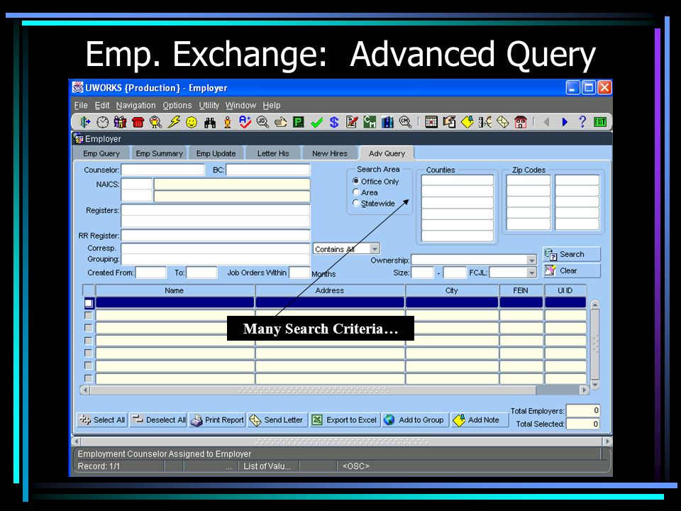 Emp. Exchange: Advanced Query