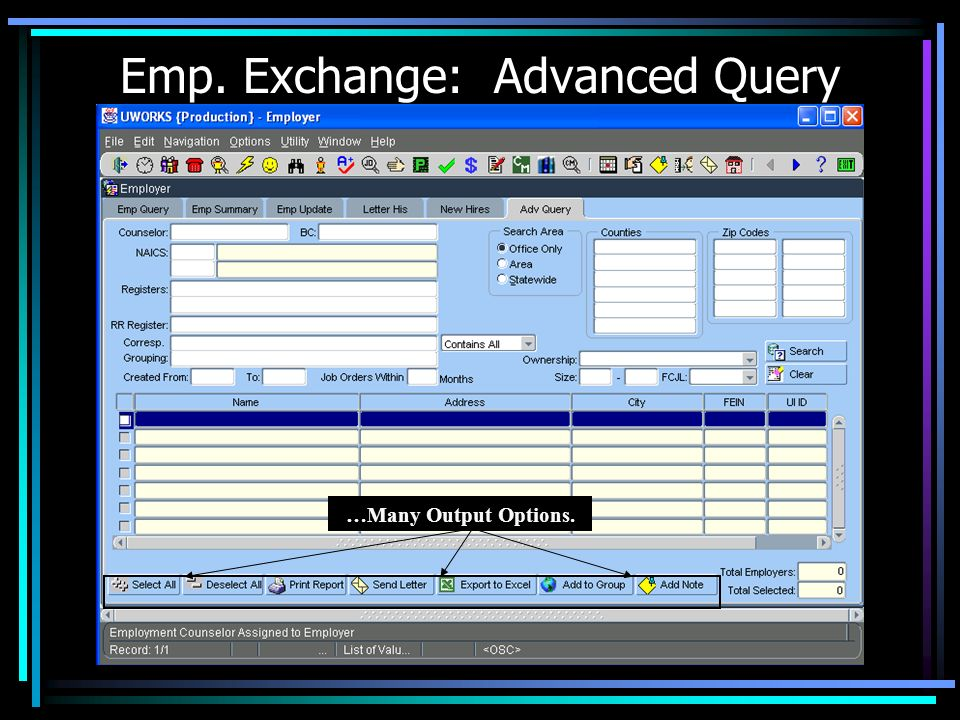Emp. Exchange: Advanced Query