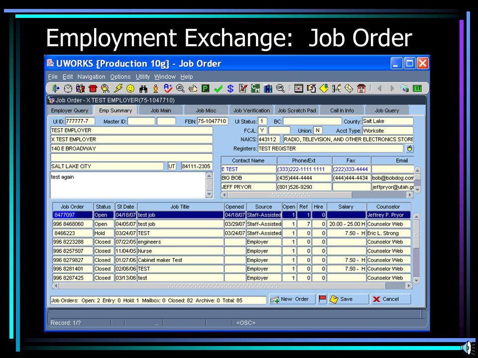 Employment Exchange: Job Order