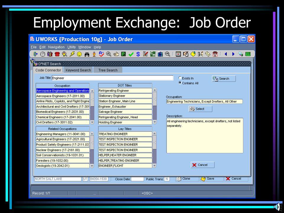 Employment Exchange: Job Order