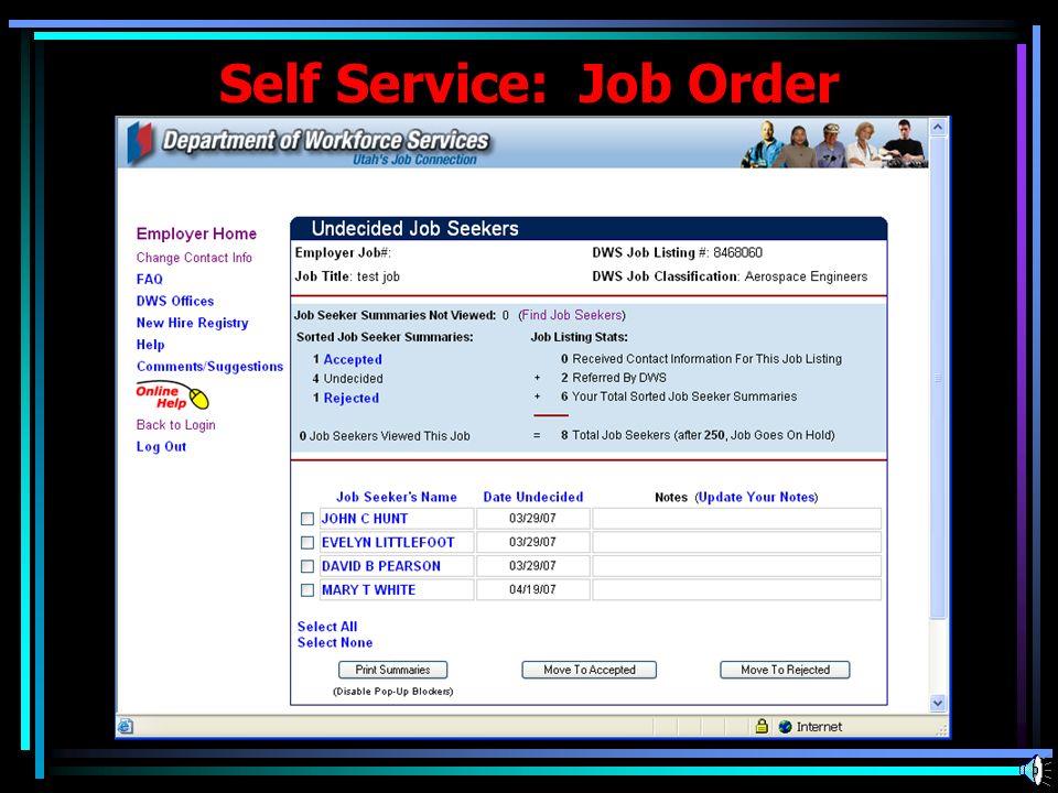 Self Service: Job Order