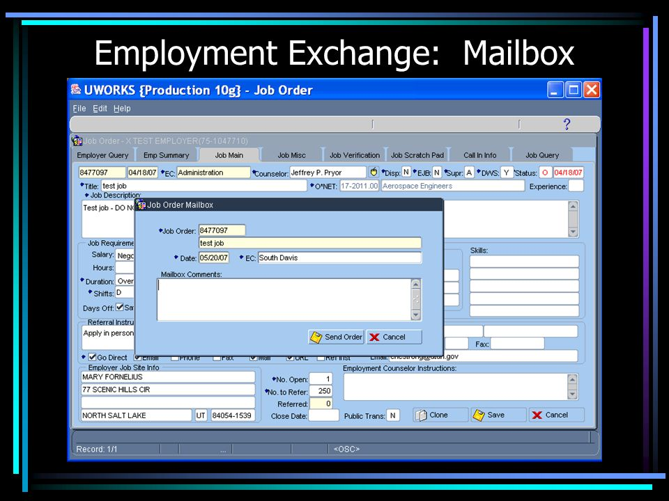 Employment Exchange: Mailbox