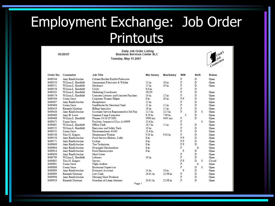 Employment Exchange: Job Order Printouts