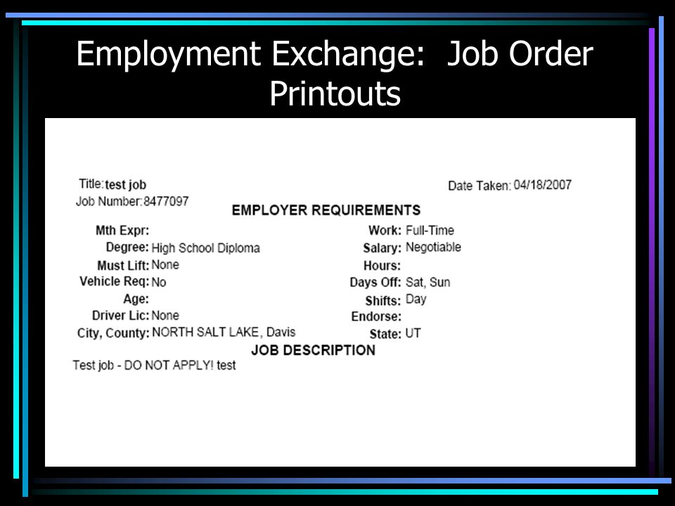 Employment Exchange: Job Order Printouts