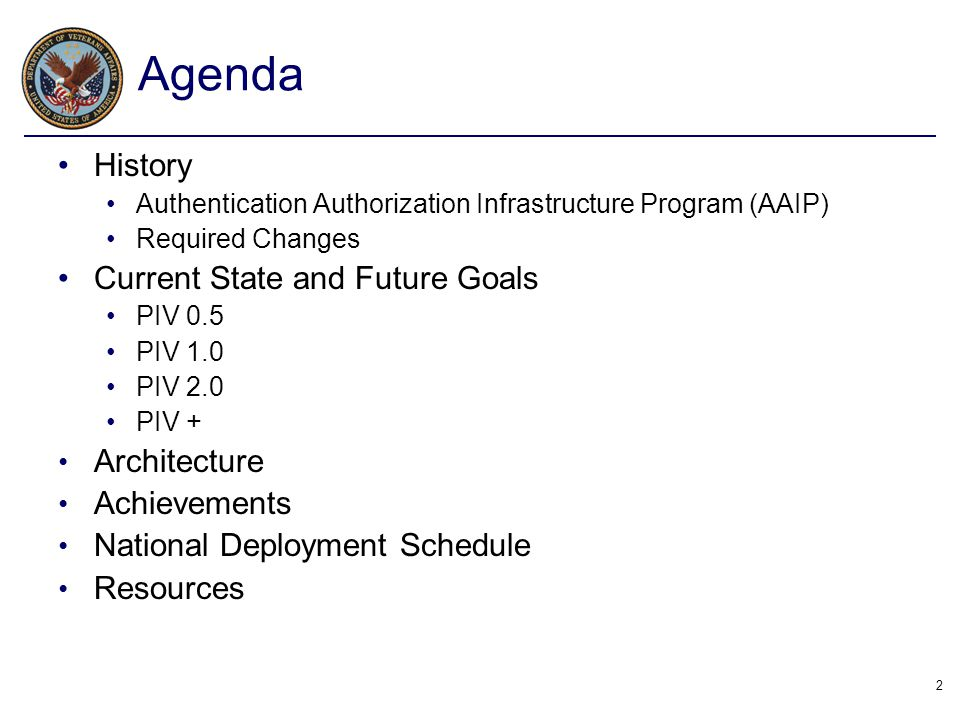 Agenda History Current State and Future Goals Architecture