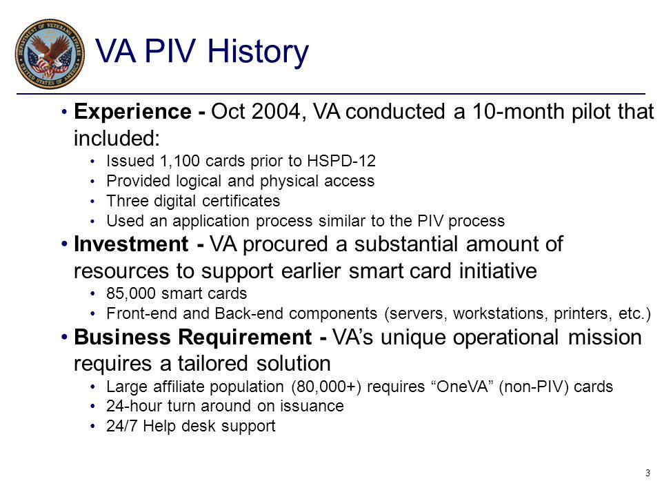 VA PIV History Experience - Oct 2004, VA conducted a 10-month pilot that included: Issued 1,100 cards prior to HSPD-12.