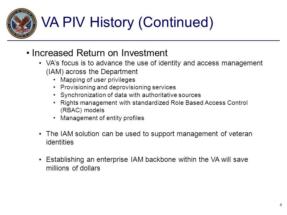 VA PIV History (Continued)