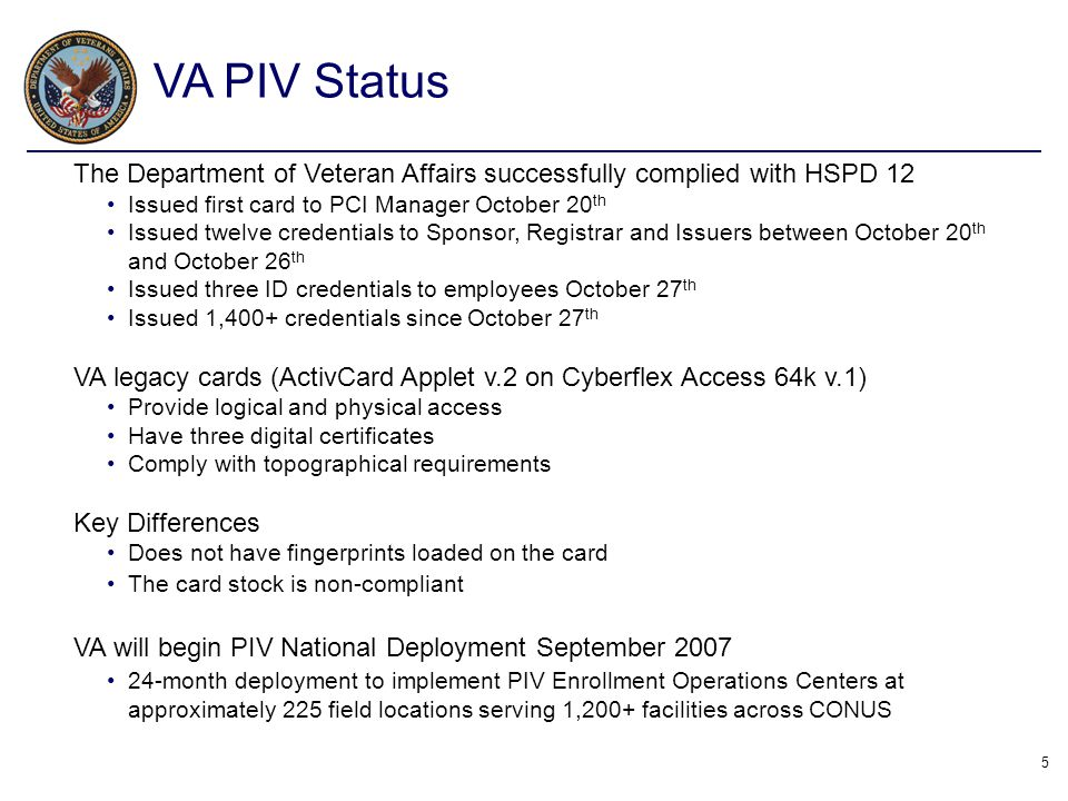 VA PIV Status The Department of Veteran Affairs successfully complied with HSPD 12. Issued first card to PCI Manager October 20th.