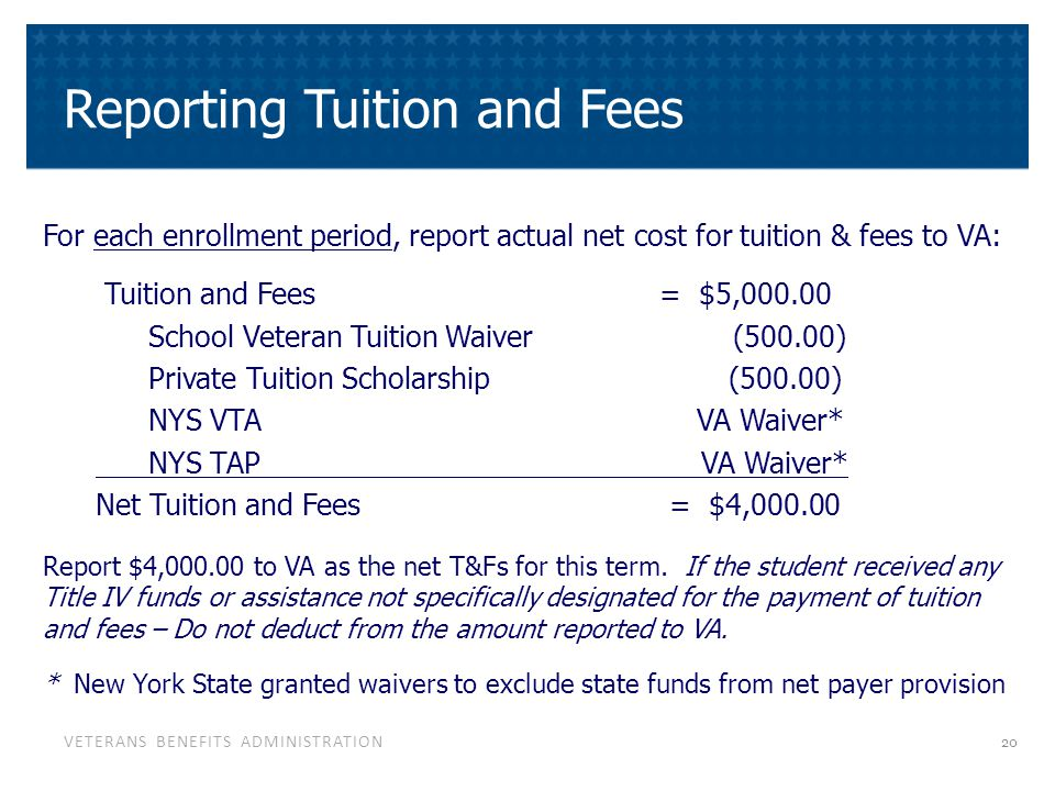 Zero Tuition If net tuition and fees are unknown, you may wish to submit the term dates and actual credit hours, but enter $0.00 as the charges.