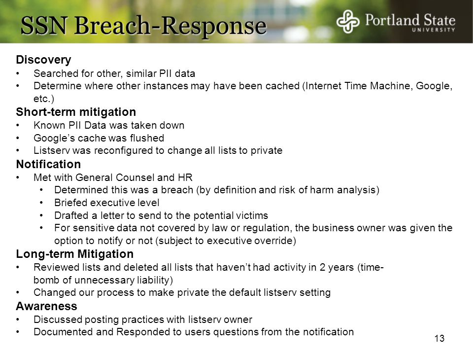 SSN Breach-Response Discovery Short-term mitigation Notification