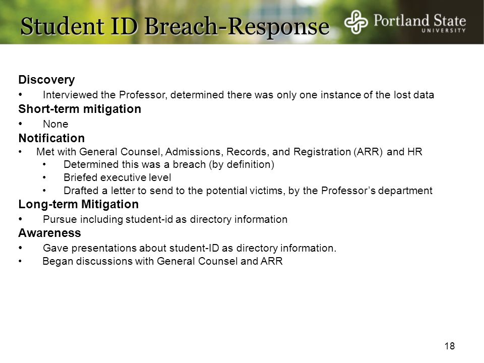 Student ID Breach-Response