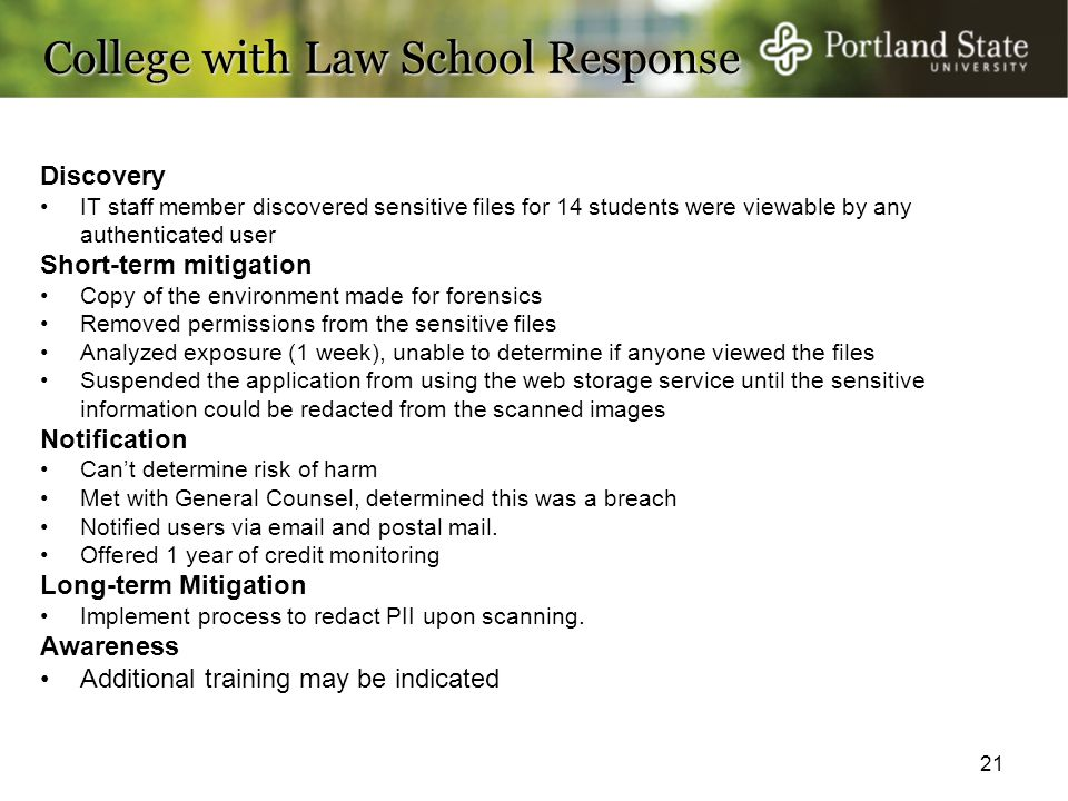College with Law School Response