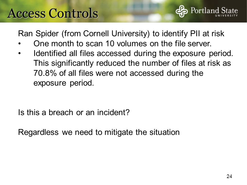 Access Controls Ran Spider (from Cornell University) to identify PII at risk. One month to scan 10 volumes on the file server.