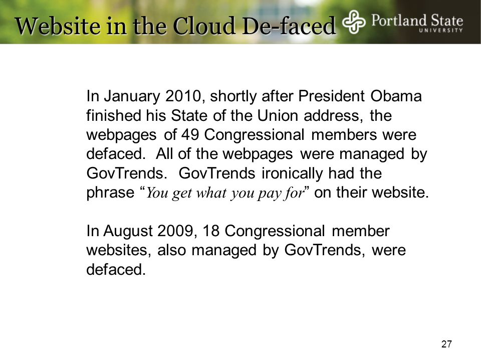 Website in the Cloud De-faced