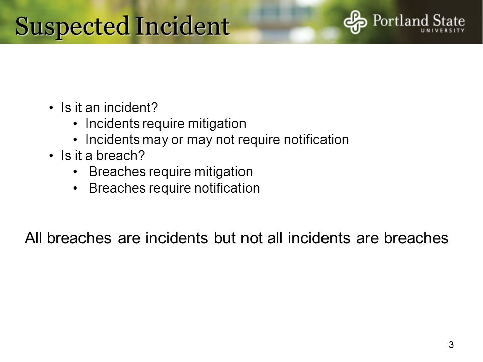 Suspected Incident Is it an incident Incidents require mitigation. Incidents may or may not require notification.