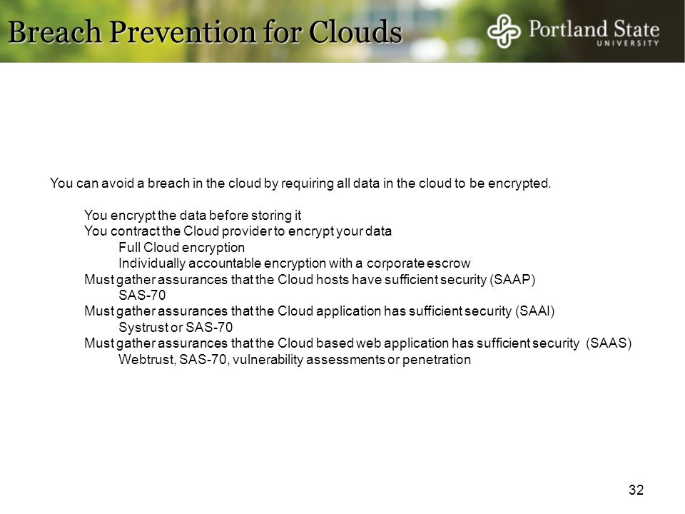 Breach Prevention for Clouds