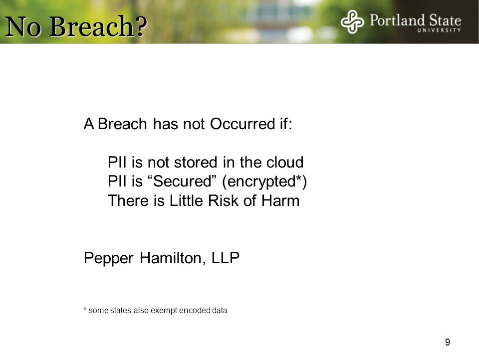 No Breach A Breach has not Occurred if: