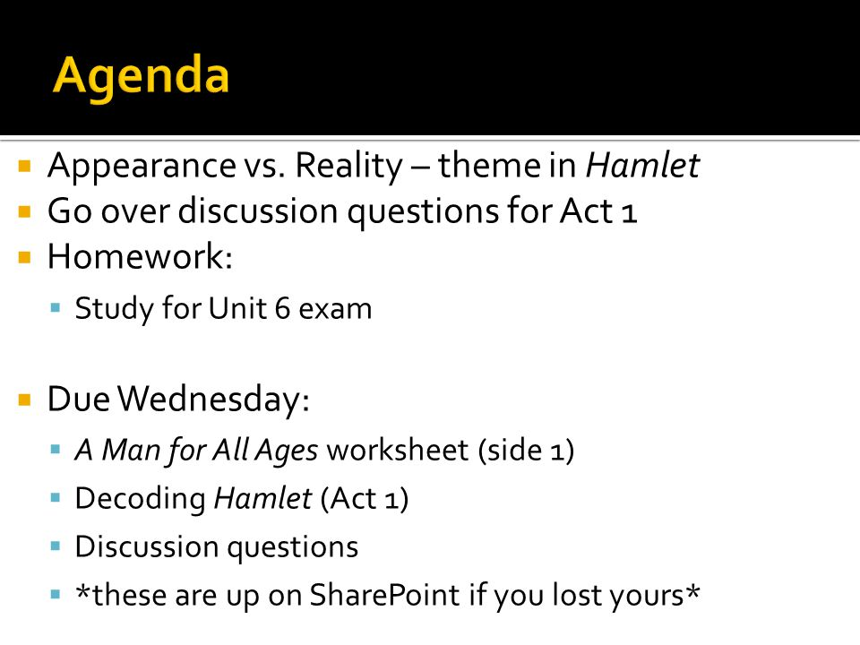 Agenda Appearance vs. Reality – theme in Hamlet