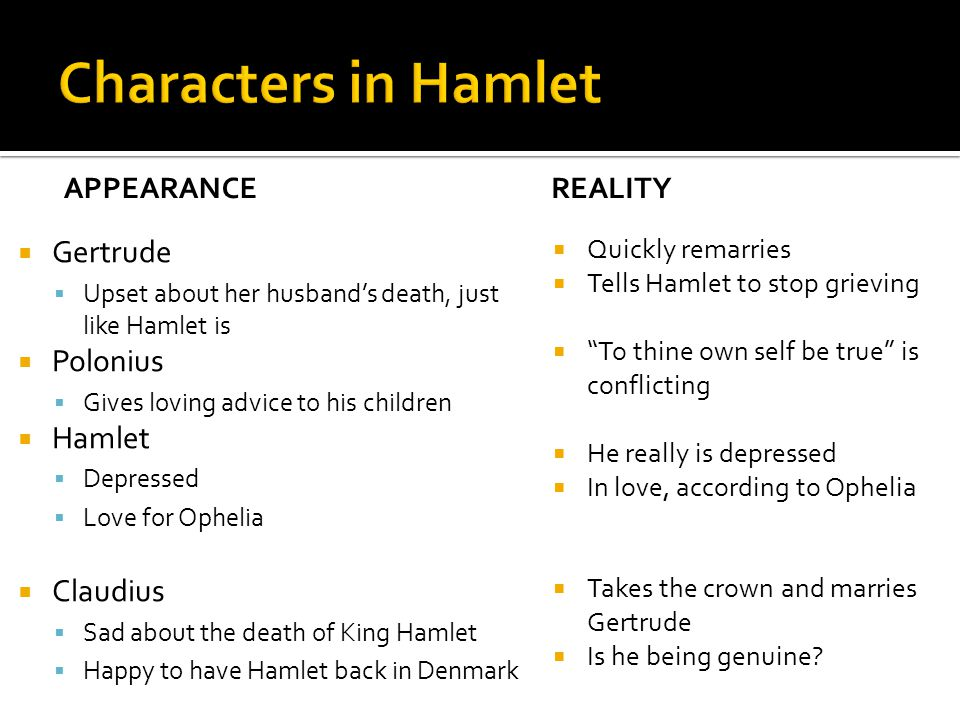 an analysis of appearance versus reality in shakespeares hamlet Line-by-line modern translations of every shakespeare play and poem hamlet themes from litcharts appearance vs reality women religion.