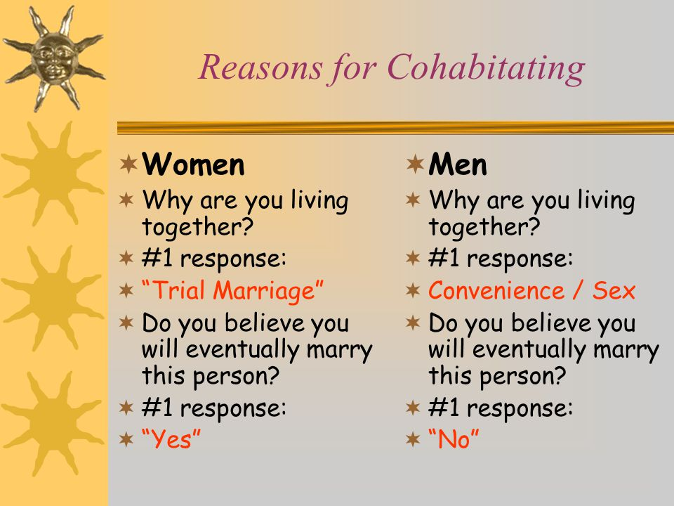 Reasons for Cohabitating