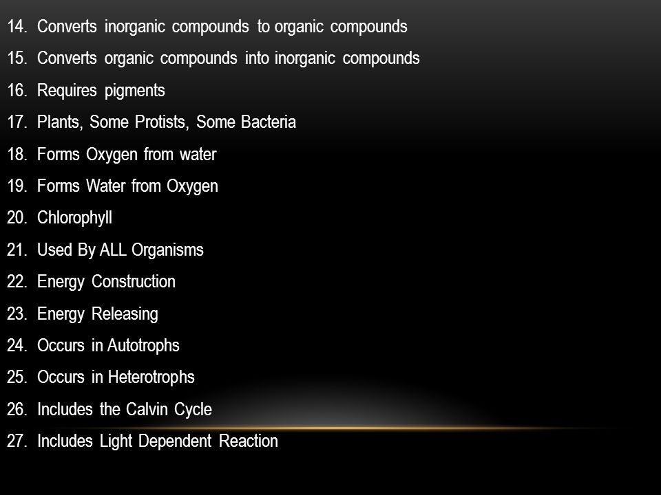 14. Converts inorganic compounds to organic compounds
