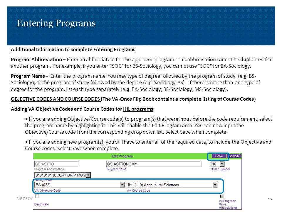 Entering Programs VA Objective/Course Codes cont.