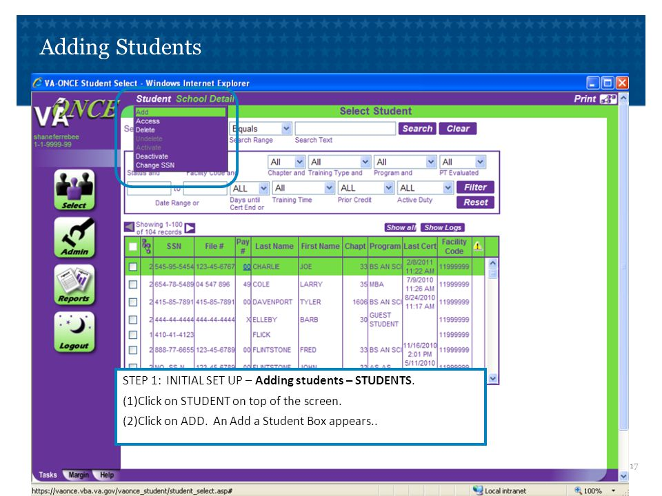 Adding Students STEP 2: INITIAL SET UP – Adding students – STUDENTS.