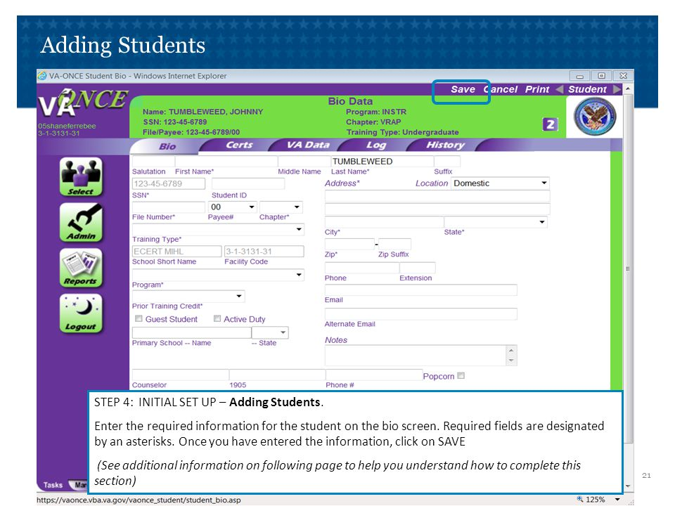 Adding Students Additional Information to complete the BIO DATA page