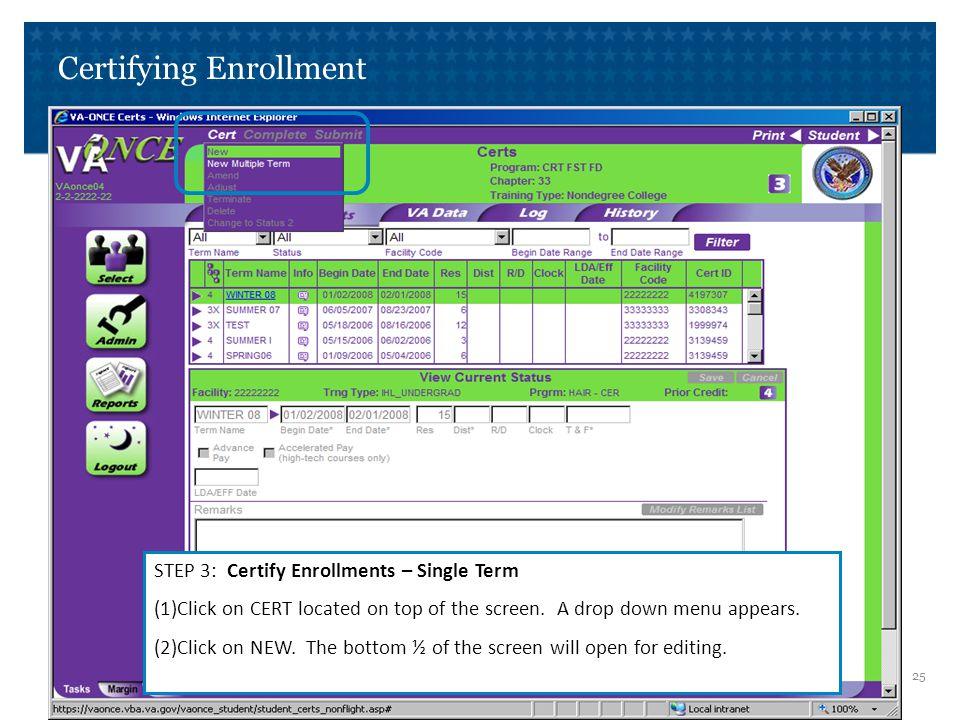 Certifying Enrollment