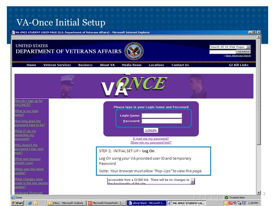 VA-Once Initial Setup STEP 3: INITIAL SET UP – Changing your Password.