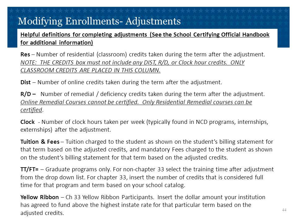 Modifying Enrollments- Adjustments