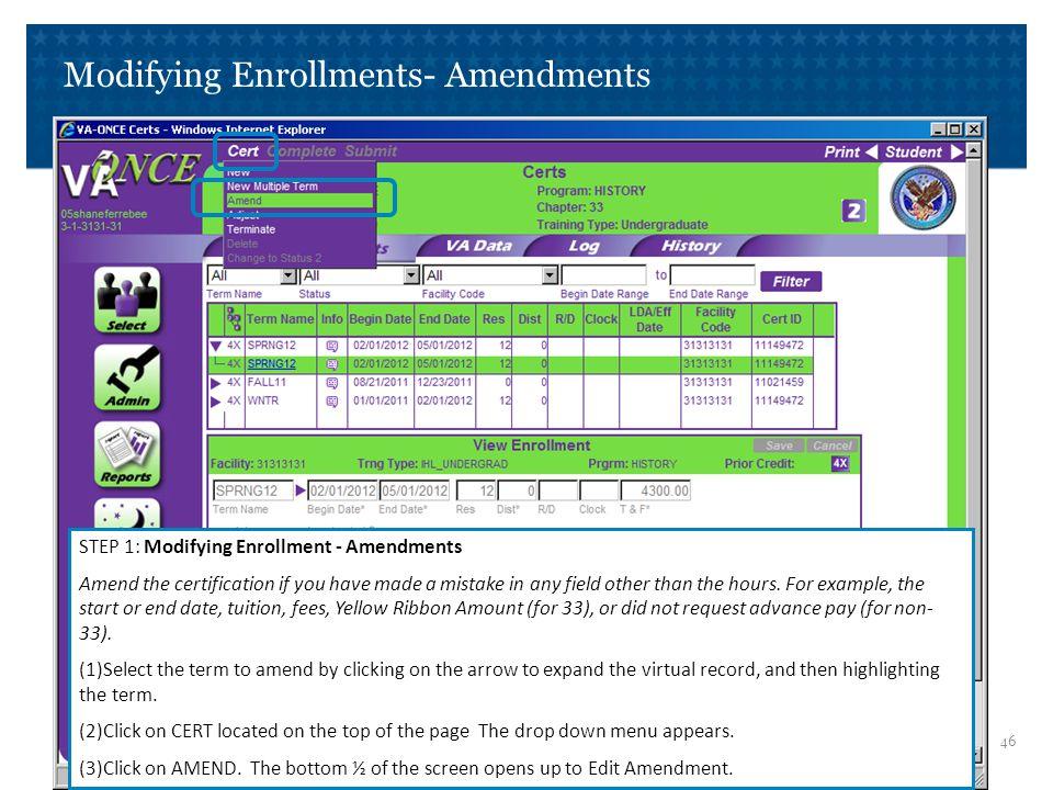 Modifying Enrollments- Amendments