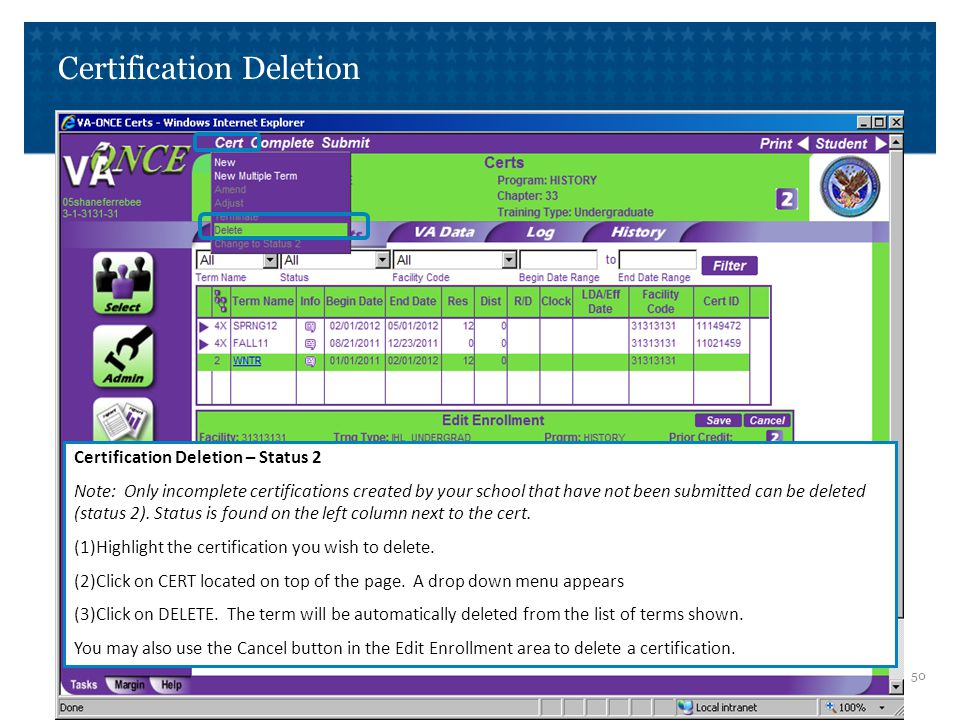 Certification Deletion