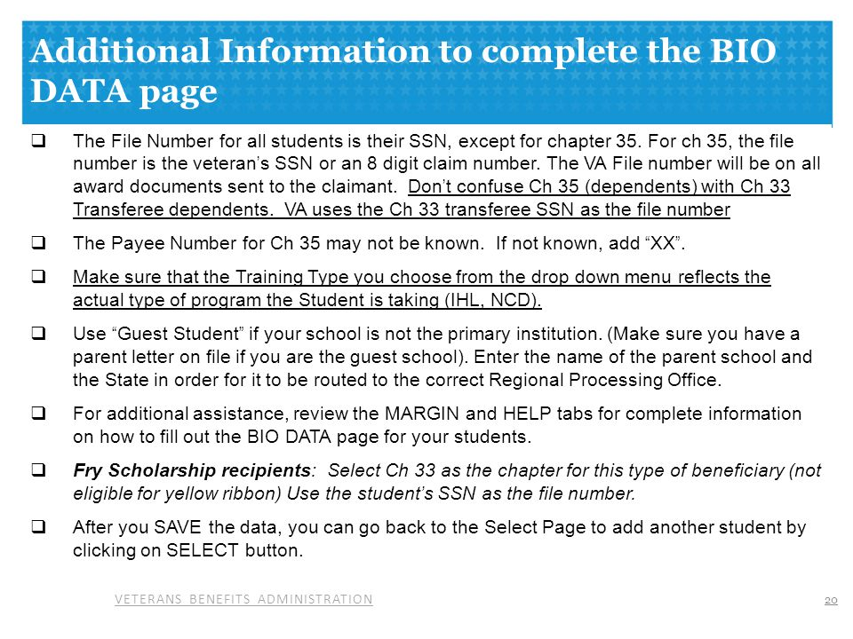 Additional Information to complete the BIO DATA page