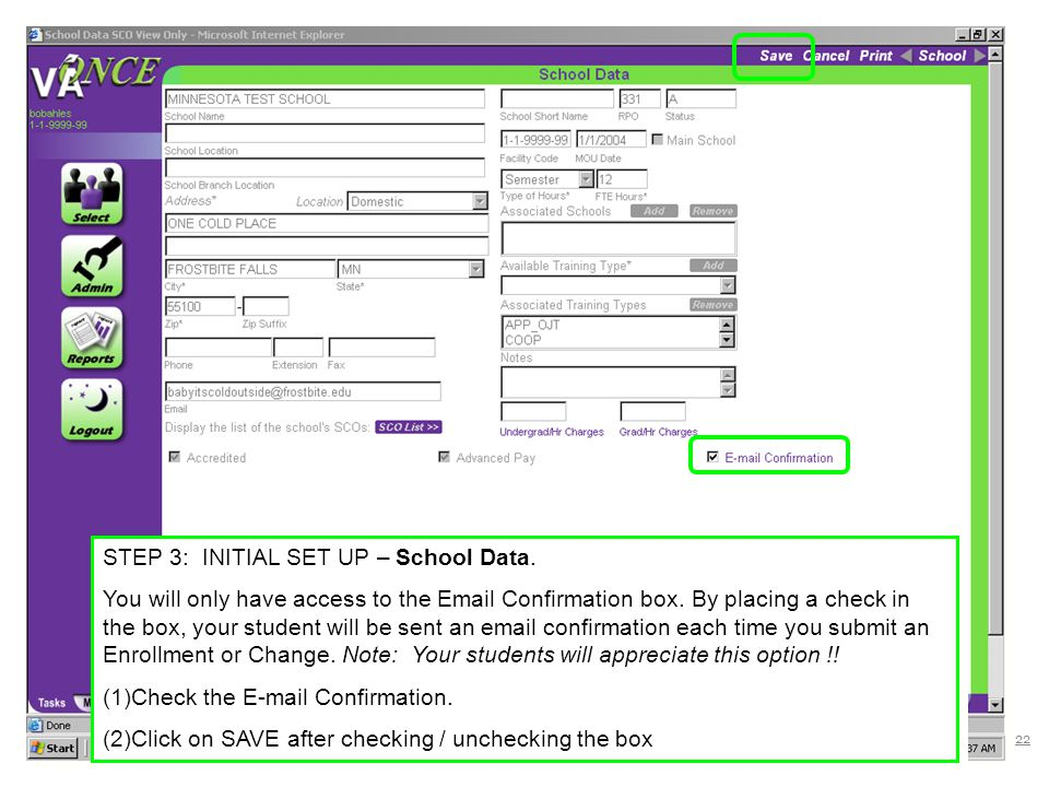 STEP 3: INITIAL SET UP – School Data.