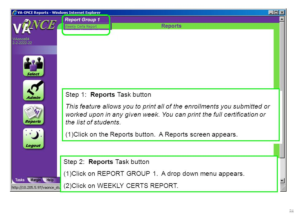 Step 1: Reports Task button