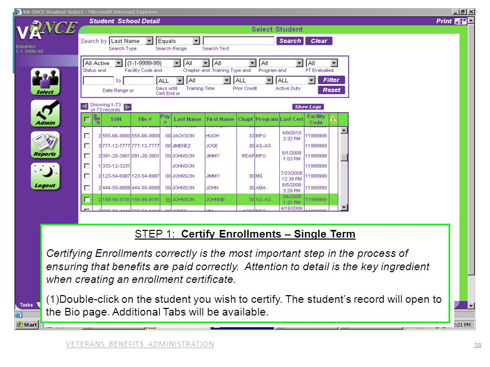 STEP 1: Certify Enrollments – Single Term