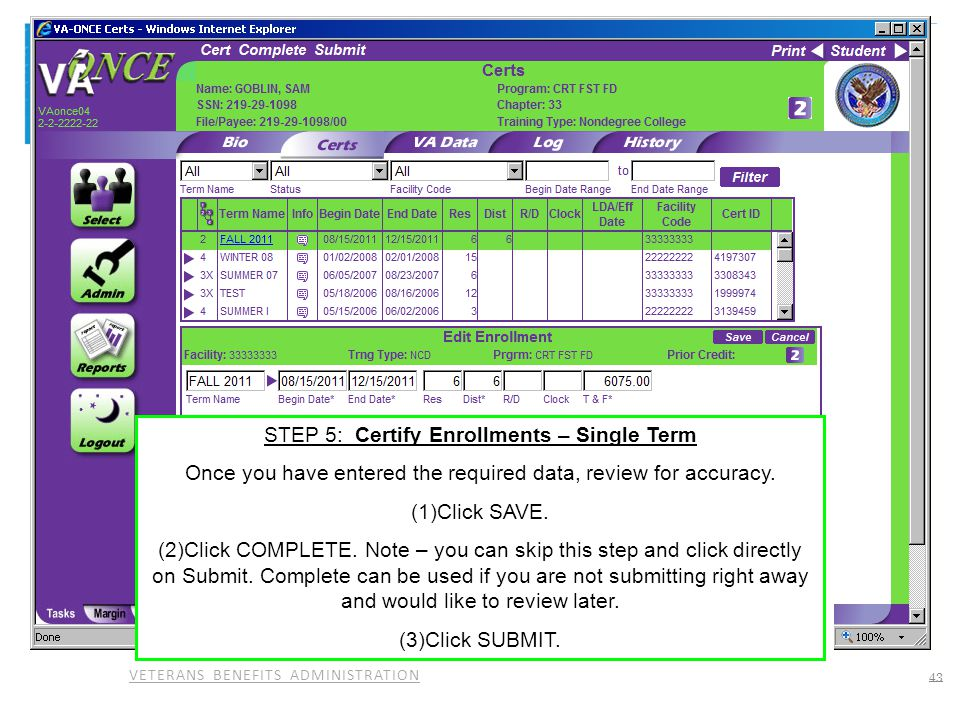 STEP 5: Certify Enrollments – Single Term